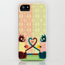 Two cats one love iPhone Case