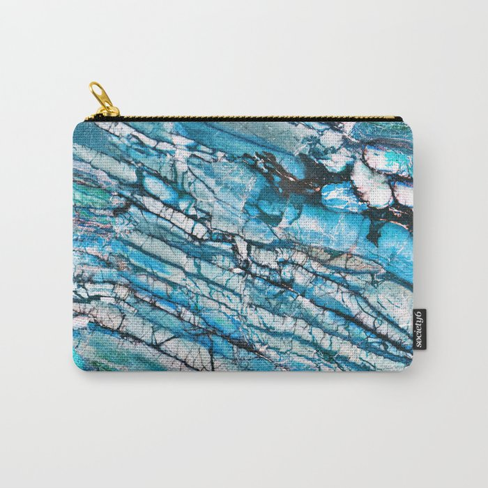 Blue Marble with Black Carry-All Pouch