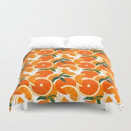 Orange Harvest - White Duvet Cover
