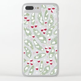 Winter Berries in Gray Clear iPhone Case