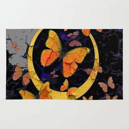 """SHABBY CHIC """"OFF THE WALL"""" BUTTERFLIES &  BLACK  ART Rug"""