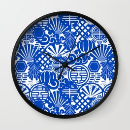 Chinese Symbols in Blue Porcelain Wall Clock