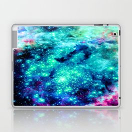 Colorful Teal Galaxy Sparkle Stars Laptop & iPad Skin