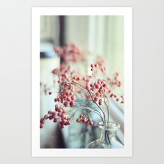 Rose Hips in a Window Still Life Autumn Botanical Art Print