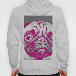 Sweet pug in pink and gray. Pop art style portrait. Hoody