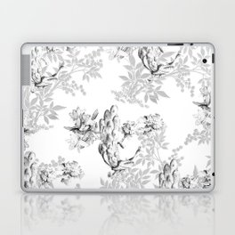 PEACOCK LILY TREE AND LEAF TOILE GRAY AND WHITE PATTERN Laptop & iPad Skin