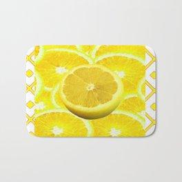 Yellow Grapefruit Pattern Art Bath Mat