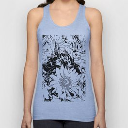 Inky Black and White Floral 1 Unisex Tank Top