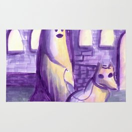 ghost and dog horror painting Rug