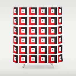 Red & Black L7 Squares Shower Curtain