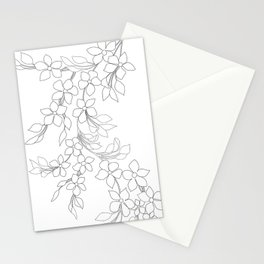 Minimal Wild Roses Line Art Stationery Cards