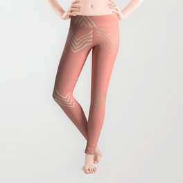 Simply Deconstructed Chevron White Gold Sands on Salmon Pink Leggings