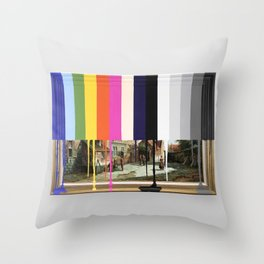 Garage Sale Painting of Peasants with Color Bars Throw Pillow