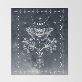 Magical Moth White Throw Blanket