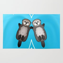 Otters Holding Hands - Otter Couple Rug