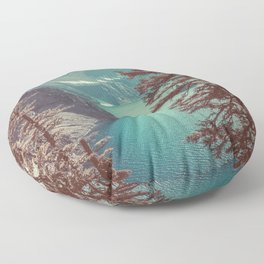Vintage Blue Crater Lake and Trees - Nature Photography Floor Pillow