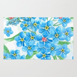 Forget me not seamless floral pattern Rug