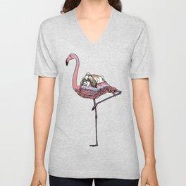 Flamingo and Shih Tzu Unisex V-Neck