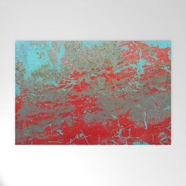 texture - aqua and red paint Welcome Mat