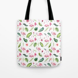 Pink green watercolor tropical hand painted flamingo Tote Bag