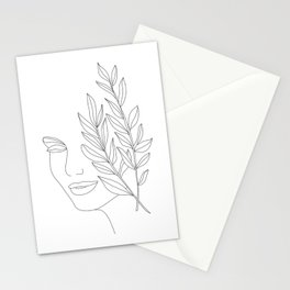 Minimal Line Art Woman Face Stationery Cards
