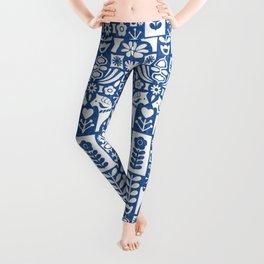 Swedish Folk Art - Blue Leggings