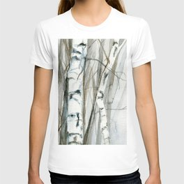 Winter Birch Trees Woodland Watercolor Original Art Print T-shirt