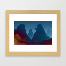 Camp Fire at Three Peaks Framed Art Print
