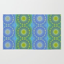Blue and Green radial patterns Rug