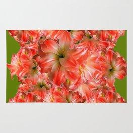 Peppermint Color Amaryllis Flower Avocado Pattern Rug