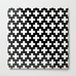 Swiss Cross W&B Metal Print