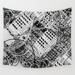 analog synthesizer  - diagonal black and white illustration Wall Tapestry