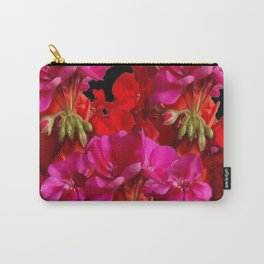Red & Fuchsia Geranium flowers Carry-All Pouch