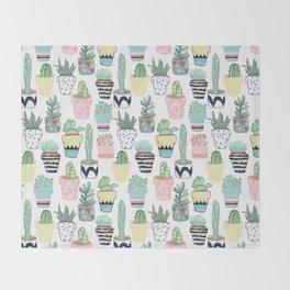 Cute Cacti in Pots Throw Blanket