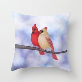 northern cardinals (bokeh) Throw Pillow