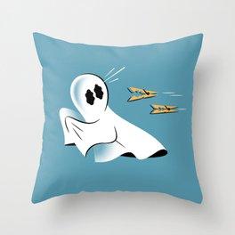 A Fearful Phantom (Teal) Throw Pillow