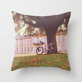 Manor Bike ride Throw Pillow