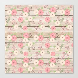 Pink and Cream Roses Pattern Canvas Print