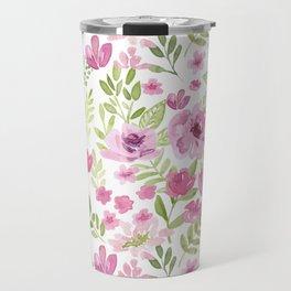 Watercolor/Ink Sweet Pink Floral Painting Travel Mug