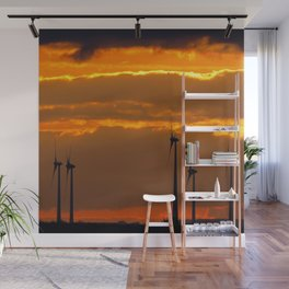 MM - Wind turbines in the sunset Wall Mural