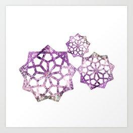 Crystal mandala art made of quartz, sea salt and alcohol ink Art Print