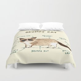 Anatomy of a Grumpy Kitty Duvet Cover