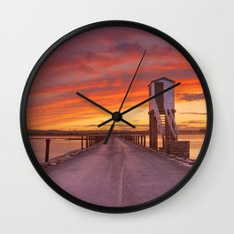 Holy Island of Lindisfarne, England causeway and refuge hut, sunset Wall Clock