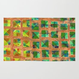 Green Squares on Golden Background Pattern Rug