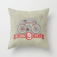 brompton Throw Pillows featuring Born To Cycle by Wyatt Design