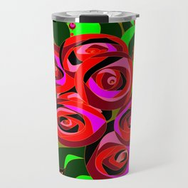 A Bouquet or Roses with a Black Background Travel Mug