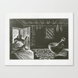 Little Red Witch Entering Grandma's House Canvas Print