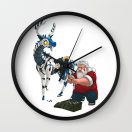 Santa and Robot Reindeer Wall Clock