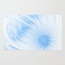 Blue White Flower | Abstract digital painting, cute floral pattern, pretty pastel flowers Rug