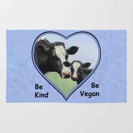 Holstein Cow and Calf Vegan Rug